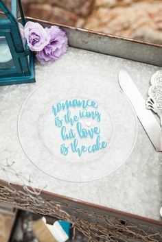 Adorable DIY, Romance is the icing, but love is the cake, wedding cake plate…