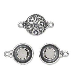 Clasp, magnetic, antiqued sterling silver, 13mm double-sided puffed flat round with raised multi-swirl pattern. Sold individually.