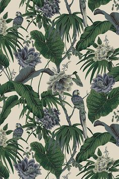 Paradisa cotton linen - off white - printed with painterly parrots and palm fronds, cool blue and verdant green colour palette pops against a backdrop of off-white. Inspired by Hawaiian chinoiserie. Parrot Wallpaper, Palm Leaf Wallpaper, Plant Wallpaper, Tropical Wallpaper, Kitchen Wallpaper, Wallpaper Off White, Luxury Wallpaper, Cream Wallpaper, Linen Fabric