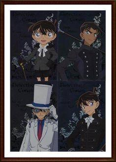 Conan, Heiji, Kaitou Kid and Shinichi