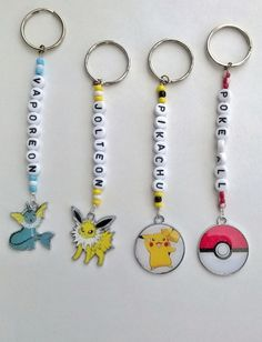 Handmade Pokémon Charm Personalised keyrings keychains. Ideal Childrens Name/Bag tags. Childrens Gift. Choice of 4 Pokémon characters: Pikachu, Vaporeon, Jolteon. Pokeball This listing is for 1 keyring/keychain. Any name upto 10 letters (please message me on payment the name you require) 4 Pokémon metal and enamel charms to choose from 28mm pokeball charm 25mm x 30mm Jolteon charm 25mm x 25mm Vaporeon charm 28mm Pikachu charm 4mm seed beads 7mm white flat round letter beads 25mm split ring…