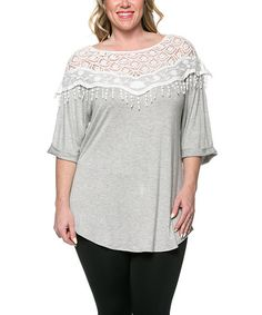 Heather Gray Lace-Fringe Shoulder Top - Plus #zulily #zulilyfinds