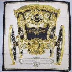 HERMES. Square vintage golden silk beige background, pattern 'Grand Carriage for an ambassador, anno