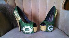 7b91877cc56e custom made heels sizes 6-10 . Green bay packer heels. Green and yellow