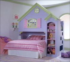 loft beds for kids   Doll House Wood Loft Bunk Bed