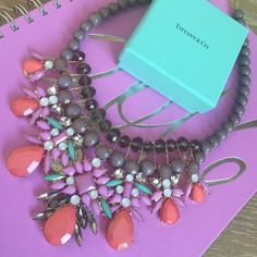 Gorgeous Statement Necklace New- never worn! Gray beads with coral, crystal, turquoise, and lilac colored beads. Nordstrom Jewelry Necklaces