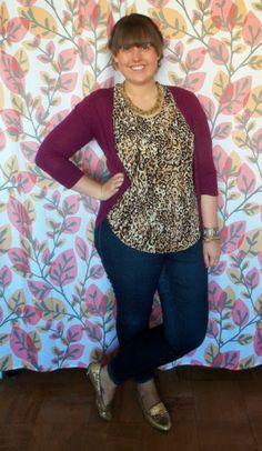 leopard print + plum cardigan + gold accessories