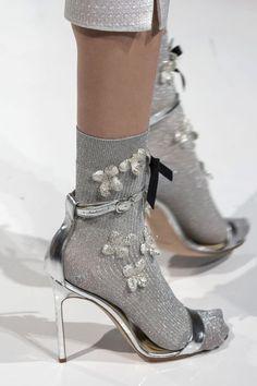 Reem Acra at New York Fashion Week Spring 2017 - Details Runway Photos Patti Hansen, Lauren Hutton, Runway Shoes, Socks And Heels, Ankle Socks, Vogue, Aesthetic Shoes, Fashion Socks, Hot Shoes