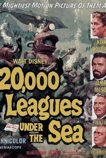 """Leagues Under the Sea"""" directed by Richard Fleischer and produced by Walt Disney. The first science fiction film shot in CinemaScope. Starring Kirk Douglas and James Mason as Captain Nemo. Sci Fi Movies, Old Movies, Action Movies, Disney Movies, Fantasy Movies, Indie Movies, Comedy Movies, Jules Verne, Vintage Movies"""