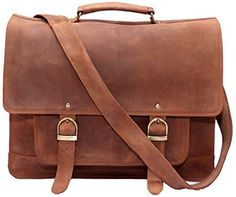 Right Choice Leather Satchel Briefcase 16 Laptop Messenger Shoulder Bag Tote for Men by Phoenix Craft 16X12X5 Beige ** Be sure to check out this awesome product.