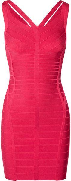 HERVÉ LÉGER  Pink Cutout Bandage Dress