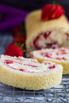 Strawberries and Cream Swiss Roll - Deliciously moist and fluffy vanilla cake filled with a layer of fresh strawberry sauce, and a layer of homemade whipped cream. The perfect summer dessert! Strawberry Roll Cake, Strawberry Jelly, Strawberries And Cream, Raspberries, No Cook Desserts, Summer Desserts, Delicious Desserts, Italian Desserts, Chocolate Chip Recipes