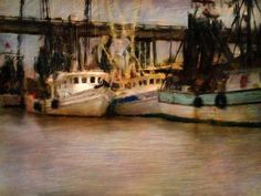 SOUTHERN SEASCAPE DIGITAL COLLAGE PAINTING MATTED FINE ART PRINT BOATS TYBEE ISLAND GEORGIA FREE SHIPPING. $20.00, VIA ETSY.