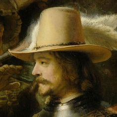 """""""The Night Watch"""" """"Nachtwacht"""" (""""The Company of Frans Banning Cocq and Willem van Ruytenburch"""") [Detail] (1642)  Detail: Willem van Ruytenburch By Rembrandt Harmenszoon van Rijn, from Leiden, Netherlands (1606-1669) oil on canvas; 379.5 x 435.5 cm; 149.4 x 178.5 in ..."""