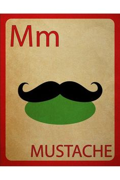 Mustache Flashcard Poster.