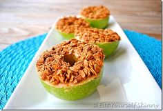 Peanut Butter Granola Apple Rings (I'd slice into thinner rings, instead of in half) 179 cals for 2 rings