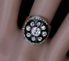 Antique Victorian Black Enamel Diamond Gold Ring