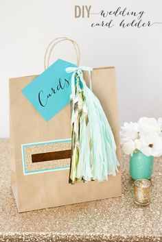 You'll never guess the simple (but darling) everyday product that we spruced up to hold wedding cards!!! Click to find out what it is!