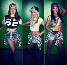 90's theme - forever 21 or charlotte russe...high rise shorts and crop top and backwards hat with plaid tied around weight