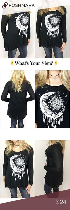 "Zodiac Moon Hi Low Flowy Tunic Top SML What's your sign?  Simply adorable black hi low tunic top with white zodiac moon graphic. Fun, flirty & flowy fit. Lightweight & stretchy 100% Rayon. Perfect with leggings, jeggings, skinnies & shorts.   • Small Bust 38"" Front Length 26"" Back 29"" • Medium Bust 39"" Front Length 27"" Back  30"" • Large Bust 40"" Front Length 28"" Back 31"" Tops"