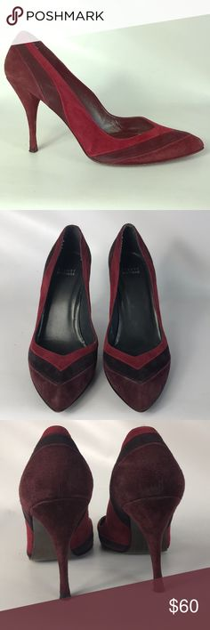 🎅🏽SALE Stuart Weitzman heels size 8.5 M Condition 9/10, normal amount of scuffs around both shoes from normal wear, check out the pictures, very beautiful heels, suede, red and burgundy color, heel height 4', if you have any questions or you want to request more pictures, please don't hesitate to ask me. Thank you 🙏🏼 Stuart Weitzman Shoes Heels