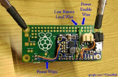 Daniel Bull has written up some excellent instructions for wiring up and soldering an Adafruit PowerBoost LiPo charger onto a Raspberry Pi. He's used a Zero for this initial hack but you shou… Pi Computer, Computer Projects, Electronic Circuit Projects, Pi Projects, Arduino Projects, T Power, Power Wire, Raspberry Projects, Lead Acid Battery