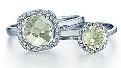 Colored Stones - 14k Green Amethyst 2.21CTS and Diamond .10CTS Ring (left)<br>$485<br>(SPRNG16196)<br><br>14k Green Amethyst .78CTS and Diamond .05CTS Ring <br>$300<br>(SPRNG15849)