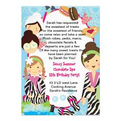 Spa Birthday Party zebra and cookies Custom Announcements