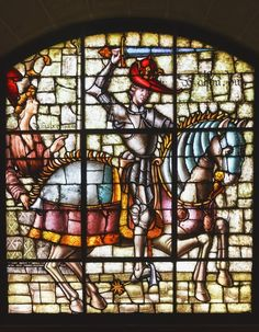 1594426. Stained Glass Window In The Alcazar Showing King Alfonso Viii Of Castile (El Noble Or El De Las Navas); Segovia, Segovia Province, Spain