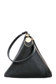 Black Mini Triangle 3D Bag with Handle