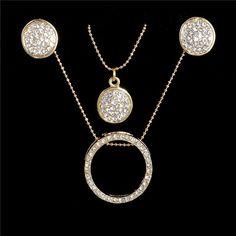 e42971df5 18K Gold Filled Austrian Crystal Circles Jewelry Set Pendant 48cm Necklace  Stud Drop Earrings