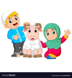 A girl and her father are holding white sheep vector image on VectorStock Eid Images, Eid Photos, Eid Crafts, Ramadan Crafts, Sheep Cartoon, Cartoon Art, Baby Feet Art, Eid Greeting Cards, Sheep Vector