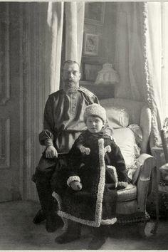 Tsar Nicholas II and son, Tsarevich Alexei Nicholaevich.