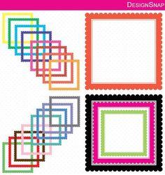 Colorful Scallop Square Digital Frames, Squares Clip Art, Digital Clipart, Digital Download, Clipart Frame, Frames Clipart, Digital Labels  - 1 Zip