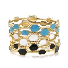Teal, White & Black Bangles