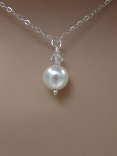 Single Pearl Necklace Sterling Silver Chain with Extension Chain Bridesmaid Necklace Bridal Jewellry -  Wedding Earrings