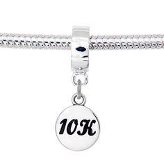 10K Sterling Silver Dangle Charm Bead- Fits Pandora,Trollbeads,Chamilia,Tedora,Bacio,Lovelinks,Biagi Bracelets-Gift for Runners
