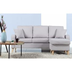 midcentury modern small space sectional sofa with reversible chase