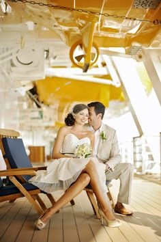 Vestido corto de novioa ----Short dress, khaki suit, sun spilling in on the deck of a cruise ship. Sounds pretty amazing at the moment. Boat Wedding, Yacht Wedding, Nautical Wedding, Wedding Pictures, Wedding Bells, Destination Wedding, Dream Wedding, Carnival Cruise Wedding, Disney Cruise Wedding
