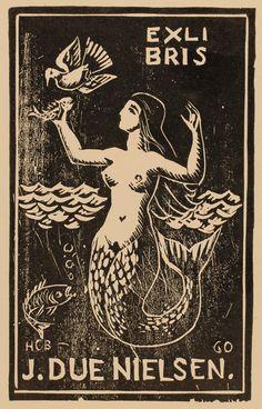 exlibris bookplate by H. Bärenholdt for Johan Due Nielsen Ex Libris, Vintage Mermaid, Mermaid Art, Mermaid Paintings, Tattoo Mermaid, Mermaid Tails, Mermaid Illustration, Illustration Art, Mermaids And Mermen