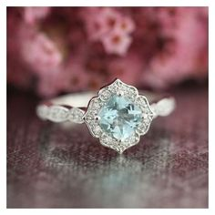 Mini Vintage Floral Aquamarine Engagement Ring 14k White Gold... ❤ liked on Polyvore featuring jewelry, rings, white gold engagement rings, gemstone engagement rings, white gold diamond ring, cushion cut diamond ring and diamond engagement rings #vintageengagementringssmall #vintageengagementringsgemstone