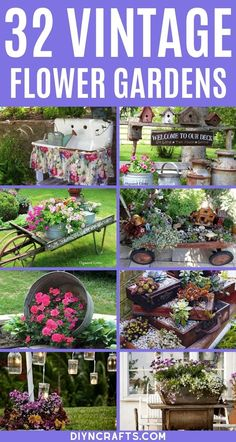 You will fall in love with each of these incredible vintage garden decor ideas! So many fun ways to use great antique finds in your garden! Turn your garden into a beautiful oasis using these amazing vintage and rustic garden decorations.  #Garden #Gardening #GardenDecor #GardenIdeas #Vintage #VintageGarden #Landscape Garden Yard Ideas, Garden Spaces, Garden Projects, Garden Decorations, Garden Layouts, Garden Cafe, Garden Junk, Diy Projects, Garden Bed
