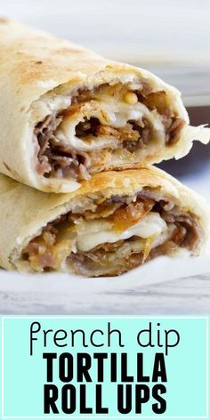 lunch recipes Fast and easy - these French Dip Tortilla Roll Ups have all the flavors of a French Dip Sandwich, but rolled up into a tortilla instead! These are perfect for those weeknight dinners when you need to get something tasty on the table quickly. Mexican Food Recipes, Beef Recipes, Cooking Recipes, Roll Ups Recipes, Recipies, Healthy Recipes, Cooking Bacon, Easy Food Recipes, Cooking Turkey