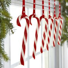 A simple row of candy canes.