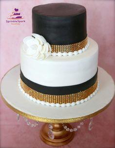 White, Black and Gold Theme elegant Cake