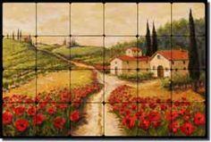 My kitchen backsplash from Morris Tuscan Poppy Landscape Tumbled Marble Tile Mural 24.