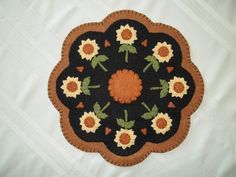 Primitive Penny Rug Candle Mat with Sunflowers and Free Shipping!