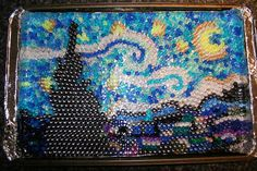 More melted bead goodness! Starry Night! Melted bead Art, this would be great too. This one is by - HOME SWEET HOME