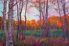 Utah aspens landscape painted in oils by modern impressionist Erin Hanson