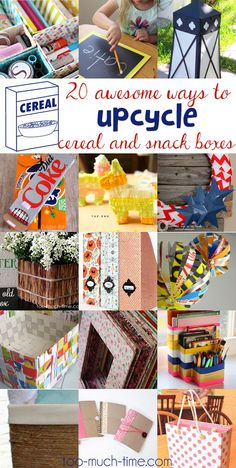 """Welcome to Main Ingredient Monday! 1 Main Ingredient + Tons of Creativity = 20 """"New"""" and amazing projects Here are 20 ways to reuse, recycle, and upcycle cereal, granola bar, and snack boxes into crafts and projects for your home."""